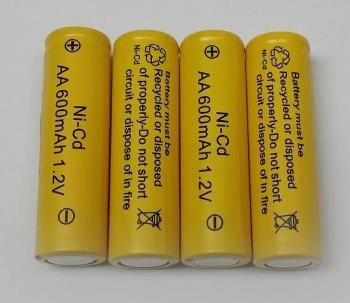AA Ni-Cd 600mAh Yellow Rechargable Batteries for Solar Powered Units