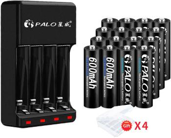 PALO 16 Pack 1.2V Ni-MH AAA600 Rechargeable Battery for Solar Lights